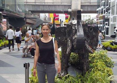 Goldi vor Elefant im Siam Center