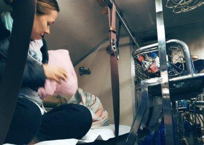 Schlafabteil im Zug in Thailand