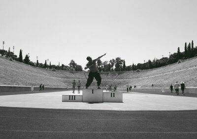 Usuan Kolb im Panathinaiko-Stadion Athen