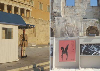 Wache und Plakate in Athen